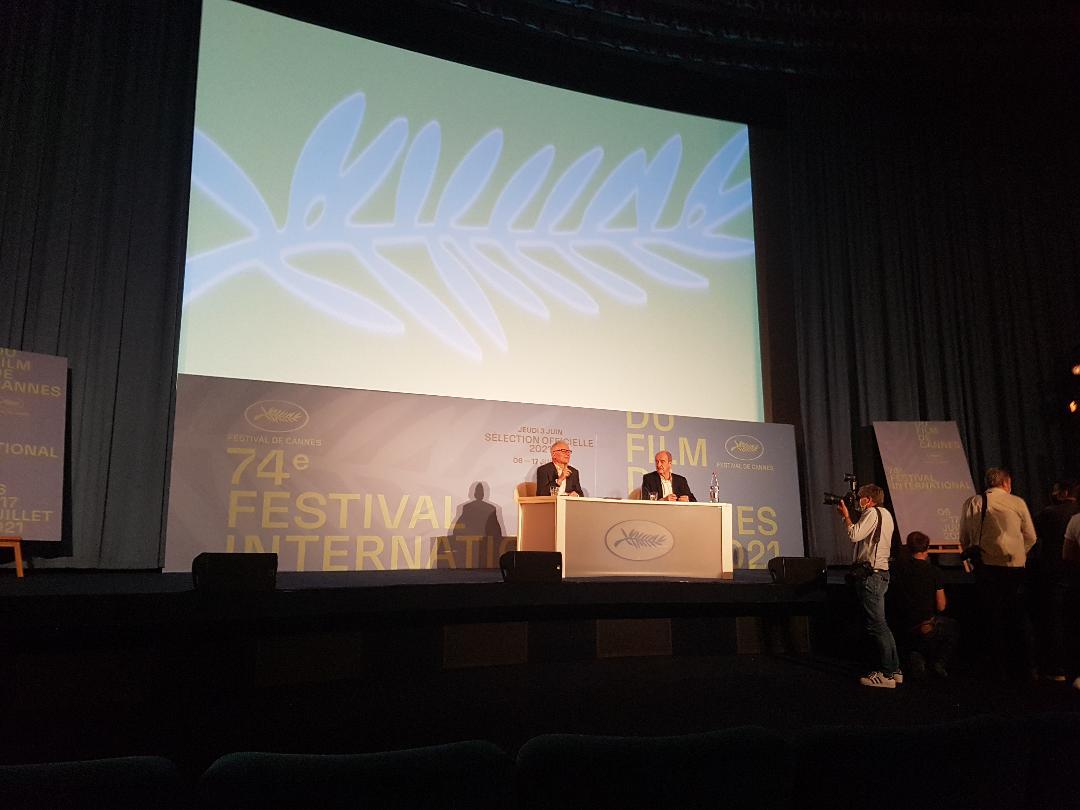 لقطة للمؤتمر الصحفي لمهرجان كان للاعلان عن قائمة الاختيار الرسمي